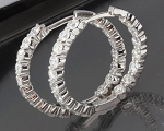 Hoop Earrings 4.00 Ct Diamond Natural Certified Solid White Gold